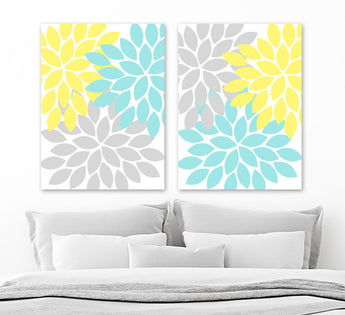 Aqua Yellow Gray Flower WALL Art, Flower Canvas or Prints Aqua Yellow Floral Bathroom Decor, Yellow Gray Aqua Bedroom Wall Decor, Set of 2 - TRM Design