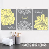 Yellow Gray BATHROOM Wall DECOR, Canvas or Print, Flower Bathroom Wall Art, Relax Soak Unwind, Bathroom Quotes Artwork, Set of 3 Pictures
