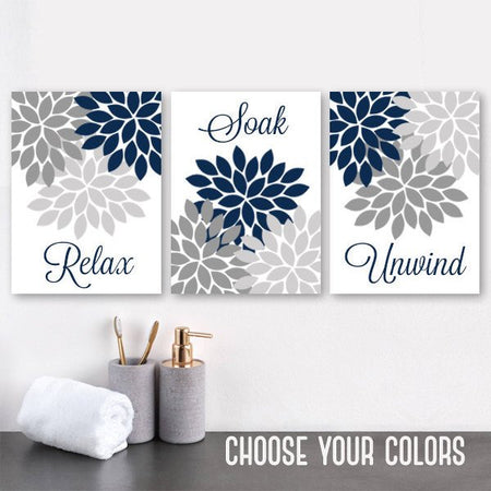 Navy Gray Bathroom Wall Decor, NAVY GRAY BATHROOM Canvas or Prints, Flower Bathroom Quotes, Relax Soak Unwind, Flower Bathroom Art Set of 3