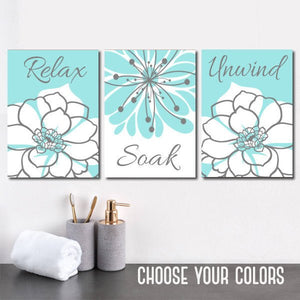 Aqua Gray BATHROOM Wall Art, CANVAS or Prints, Bathroom Wall Decor, Bathroom Decor, Relax Soak Unwind, Flower Bathroom, Set of 3 Home Decor