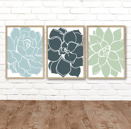FLOWER Succulent Wall Art, Teal Green Blue Bedroom Wall Decor, Canvas or Prints, Teal Bathroom Decor, Flower Succulent Home Decor, Set of 3