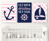 Girl NAUTICAL Nursery Wall Art, Girl Nautical Nursery Decor, CANVAS or Prints, Navy Pink Nursery Decor, Let Your Dreams Set Sail, Set of 3