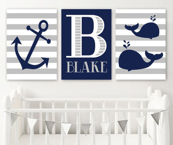 Anchor Whale Wall Art, Nautical Nursery Canvas or Prints Navy Gray Nautical Boy Nursery Decor, Boy Name Monogram Nautical Decor, Set of 3 - TRM Design