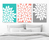 Turquoise Coral Wall Art, Flower Petal Art, Flower CANVAS or Prints, Floral Bedroom Wall Decor, Coral Gray Flower Bathroom Decor, Set of 3