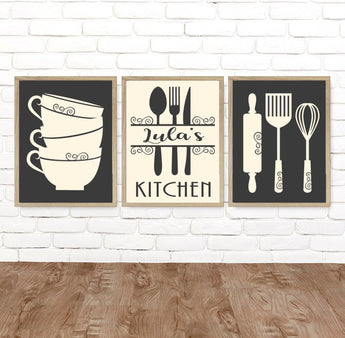 Personalized KITCHEN Wall Art, Kitchen Canvas or Print, Kitchen Utensils Decor, Rustic Farmhouse Kitchen Dining Room Wall Decor, Set of 3