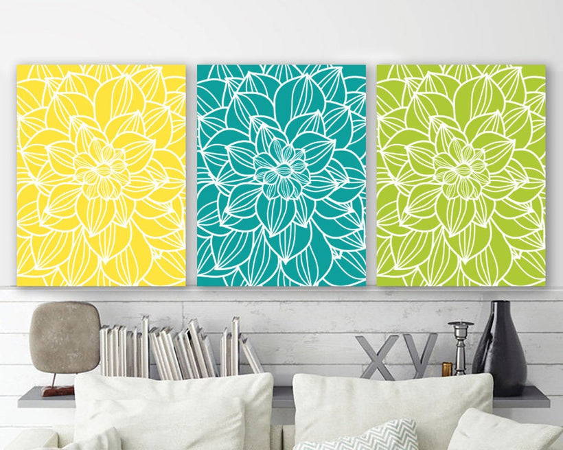 Large Flower Wall Art, Yellow Turquoise Lime Flower Bedroom Wall Pictures, Flower CANVAS or Prints Flower Bathroom Wall Decor, Set of 3 Art