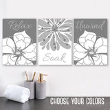 GRAY Flower BATHROOM Wall Art, Bathroom Quote Canvas or Prints, Flower Bathroom Wall Decor, Relax Soak Unwind Quote Pictures, Set of 3