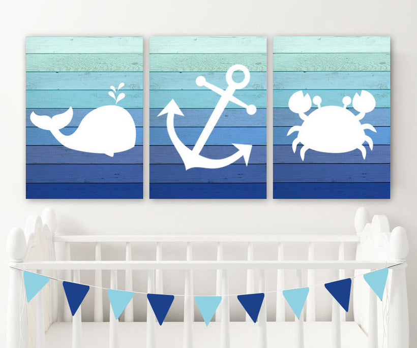Boy Nautical Nursery Decor, Nautical Nursery Wall Art, Nautical Nursery Art Pictures, Ombre Wood CANVAS or Print Whale Anchor Crab Set of 3 - TRM Design