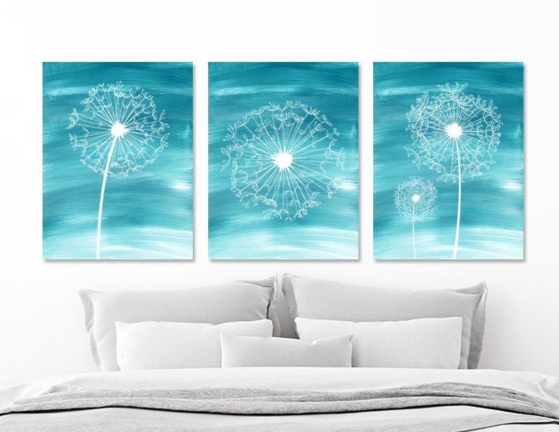 Watercolor DANDELION Wall Art, Water Ombre Teal Bedroom Wall Decor Canvas or Prints  Dandelion Teal Bathroom Wall Decor, Set of 3 Pictures