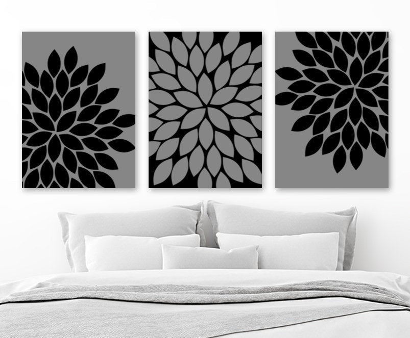 Black Gray Flower Bedroom Wall Decor, Flower Canvas or Print Flower Black Gray Bathroom Decor, Gray Flower Wall Art Set of 3 Floral Artwork - TRM Design