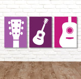 Girl GUITAR Wall Art, Music Theme Guitar Nursery Decor, Girl Guitar Bedroom Pictures, Music Rock and Roll Set of 3 Guitar Canvas or Print