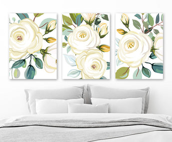 Ivory Teal Flower Wall Art, Ivory Boho Flower Bedroom Art Pictures, Floral Ivory Teal Bathroom Wall Decor, Set of 3 Canvas or Print