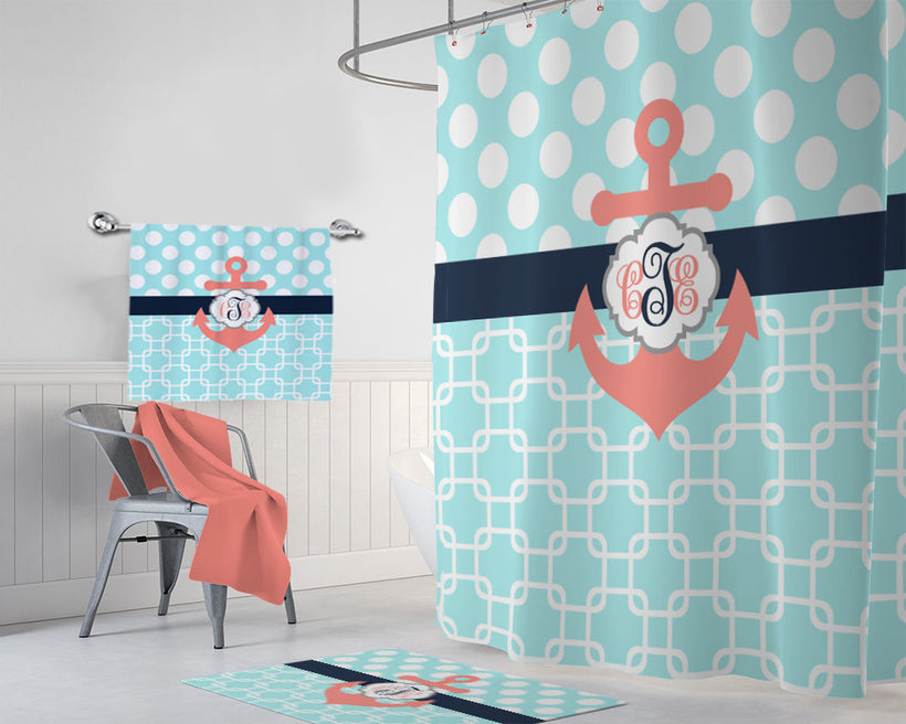ANCHOR SHOWER CURTAIN, Navy Coral Aqua Nautical Anchor Bathroom Decor, Custom Monogram Personalized Nautical Anchor Bath Towel Bath Mat - TRM Design