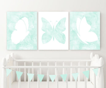 Aqua Mint Watercolor BUTTERFLY Nursery Wall Art Decor, Watercolor Aqua Mint Butterfly Wall Decor, Butterfly Nursery Set of 3 Canvas or Print - TRM Design