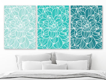Teal Aqua TURQUOISE Flower BEDROOM Wall Art, Flower CANVAS or Print, Turquoise Teal Aqua Flower Bathroom Wall Decor, Set of 3 Floral Artwork
