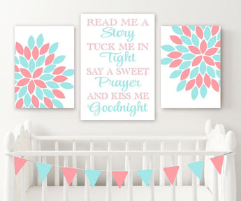 Aqua Coral Flower Quote Wall Art, Coral Aqua Girl Nursery Wall Decor CANVAS or Prints Read Me a Story Kiss Me Goodnight Set of 3 Pictures - TRM Design