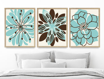 Aqua Brown Flower Wall Art, Blue Brown Floral Bedroom Canvas or Prints Blue Brown Floral Bathroom Wall Decor Artwork, Set of 3 Pictures - TRM Design