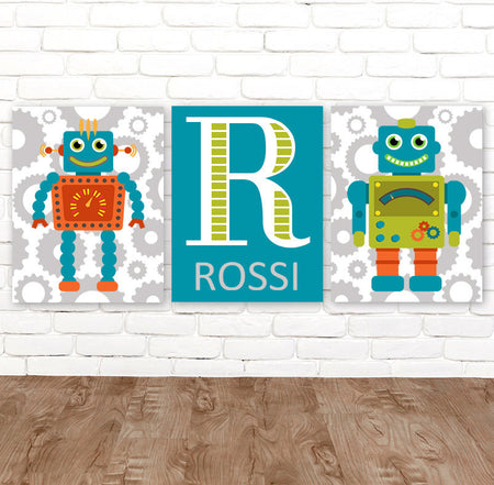 ROBOT Wall Art, Robot Decor, Big Boy Room Pictures, Robot Theme Artwork, Robot Birthday Gift, Boy Name Robot CANVAS or Prints, Set of 3 Art