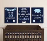 Boy Nursery Quote Wall Art, Dream Big Bear Let Him Sleep For This Child Prayed Canvas or Prints Set of 3