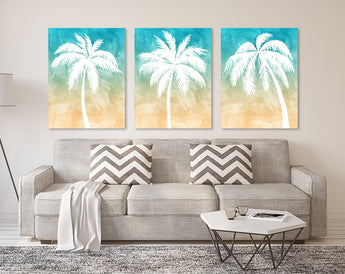 PALM TREE Wall Art, Palm Tree CANVAS or Print, Tropical Palm Tree Bedroom Pictures, Tropical Palm Tree Bathroom Decor Set of 3 Palm Tree Art