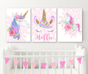 Watercolor UNICORN Wall ART, Unicorn Nursery Decor Canvas or Prints, Girl Name Unicorn Birthday Gift Set of 3 Unicorn Theme, Unicorn Lover