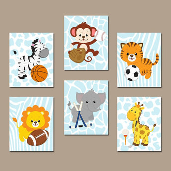 Sport Animal Wall Art, Baby Boy Animal Nursery Decor, Sport Jungle Safari Animals Art Canvas or Prints  Zoo Theme Nursery Decor Set of 6