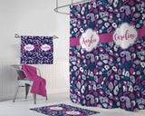 Sister SHOWER CURTAIN, Girl MONOGRAM Shower Curtain, Girl Shared Bathroom Decor, Personalized Shower Curtain, Pink Purple Bathroom Decor
