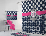 ANCHOR SHOWER CURTAIN, Navy Pink Gray Polka Dot Anchor Bathroom Decor, Personalized Monogram Nautical Bathroom Decor, Bath Towel Bath Mat - TRM Design