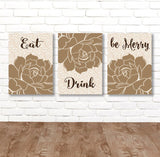 KITCHEN Wall Art, Eat Drink Be Merry, CANVAS or Print Flower Kitchen Decor, Kitchen Bar Quote Decor, Kitchen Wall Decor, Set of 3 Home Decor