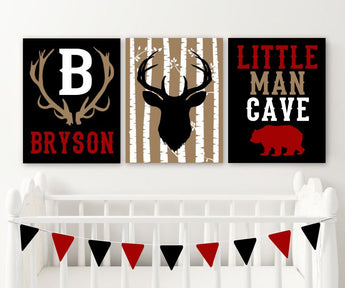 LUMBERJACK NURSERY DECOR, Baby Boy Nursery Wall Decor, Little Man Cave Bear Deer Canvas or Prints, Boy Rustic Deer Antler Nursery, Set of 3