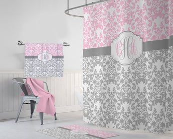 Pink Gray Damask SHOWER CURTAIN MONOGRAM Personalized Bathroom Decor Dorm