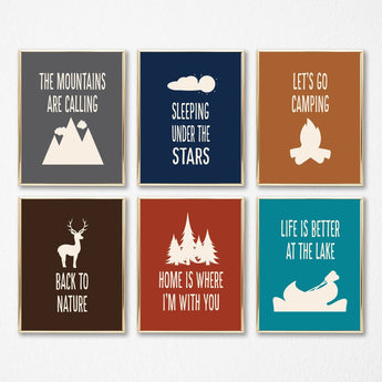 CAMPING Wall Art, Camping Nursery Decor, Nature Theme Nursery Decor, Camping Quotes Canvas or Prints Camping Quote Pictures Set of 6 Artwork - TRM Design