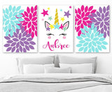 UNICORN Wall ART, Unicorn Nursery Decor, Canvas or Prints, Girl Name Art, Unicorn Birthday, Unicorn Lover Gift, Set of 3 Unicorn Theme