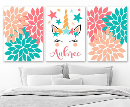UNICORN Wall ART, Unicorn Nursery Decor Canvas or Prints  Girl Name Art, Girl Bedroom Pictures, Unicorn Lover Gift, Set of 3 Decor Pictures