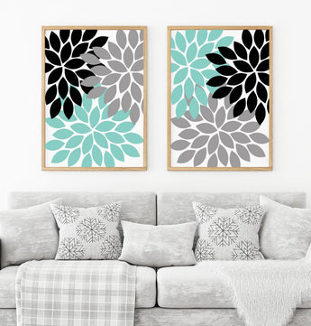 Aqua Black Gray Flower WALL Art Flower Canvas or Prints Floral Bathroom Decor, Floral Bedroom Pictures, Floral Living Room Pictures Set of 2 - TRM Design