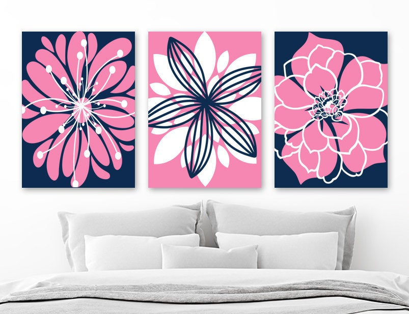 NAVY PINK Flower Baby Girl Nursery Wall Art, Pink Navy Flower Girl Bedroom Pictures, Pink Navy Flower Bathroom CANVAS or Prints Set of 3 Art