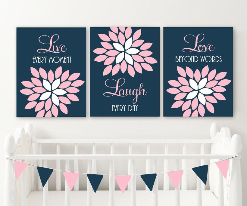 Pink Navy Nursery Wall Art Decor, Live Laugh Love Wall Art, Baby Girl Nursery Decor, Bedroom Bathroom Wall Decor, CANVAS or Prints Set of 3