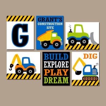 CONSTRUCTION Wall Art, CONSTRUCTION Trucks Canvas or Prints  Big Boy Room Decor, Construction Theme, Construction Quotes, Set of 6 Pictures - TRM Design