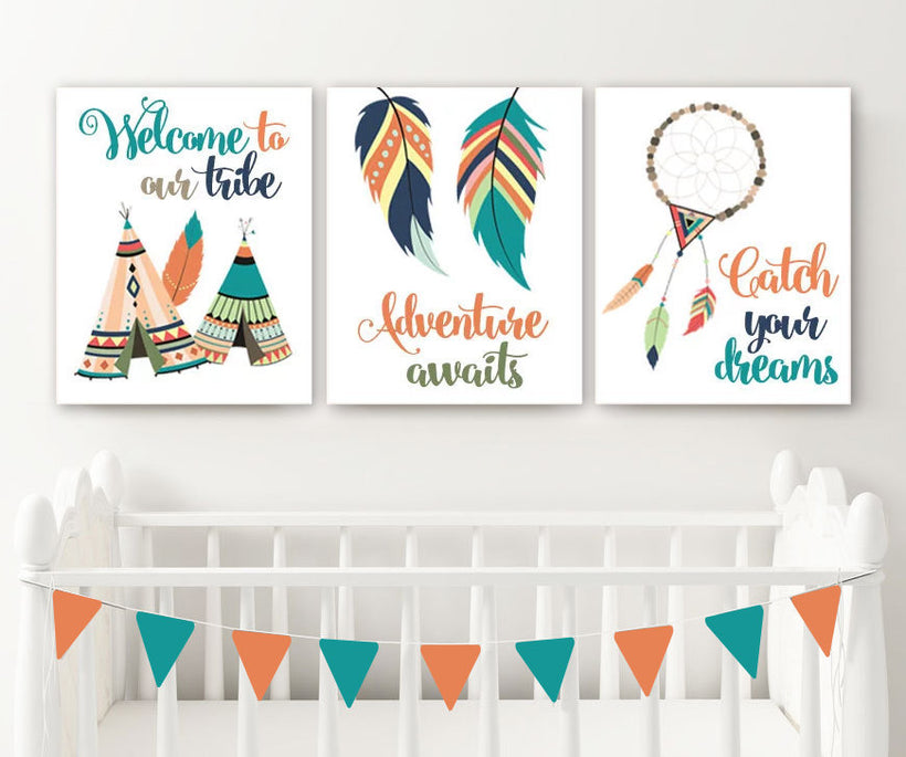 TRIBAL Nursery Wall Art, TRIBAL Canvas or Prints, Tribal Woodland Pictures, Tribal Feathers Tee Pee Tribe Dream Catcher Adventure Set of 3