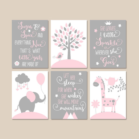 PINK GRAY Quote Nursery Decor, Girl Animal Nursery Wall Art, Elephant CANVAS or Prints, Personalized Baby Girl Above Crib Pictures, Set of 6
