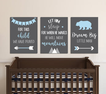 BOY Nursery Quote Wall Art, Nursery Quote Decor, Boy Quote Dream Big Let Him Sleep For This Child We Have Prayed Canvas or Prints Set of 3 - TRM Design