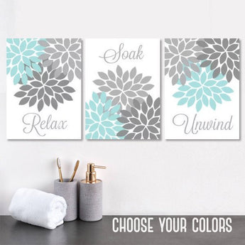 Aqua Gray BATHROOM Wall Art Canvas or Prints Flower Bathroom Pictures, Relax Soak Unwind, Bathroom Decor, Set of 3, Bath Quotes Wall Decor - TRM Design