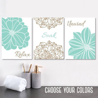 Seafoam Aqua Beige BATHROOM DECOR. WALL Art, Bathroom Canvas or Print Flower Bathroom Wall Decor, Relax Soak Unwind Bathroom Quote Set of 3