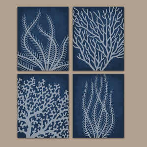 Coral Reef BATHROOM Wall Art, Coral Reef CANVAS or Prints, Coral Reef Bathroom Decor, Navy Nautical Prints, Navy Nautical Bedroom Set of 4