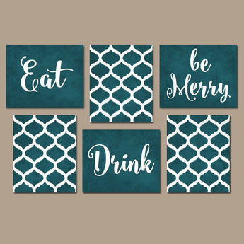 EAT DRINK be Merry Wall Art, Kitchen CANVAS or Prints, Teal Kitchen Decor, Teal Dining Room Pictures, Home Decor Set of 6 Kitchen Pictures