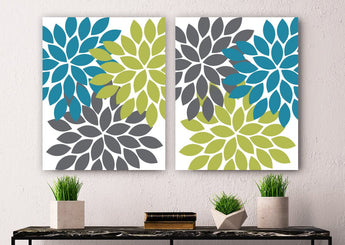 Flower WALL Art, Flower Canvas or Prints, Teal Green Gray Flower Bathroom Decor, Teal Green Floral Bedroom Wall Decor, Set of 2 Flower Art