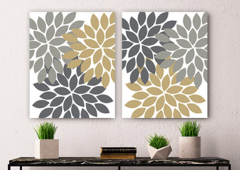 Flower WALL Art, Flower Canvas or Prints, Gray Gold Floral Bathroom Decor, Floral Bedroom Wall Decor, Living Room Art, Home Decor, Set of 2