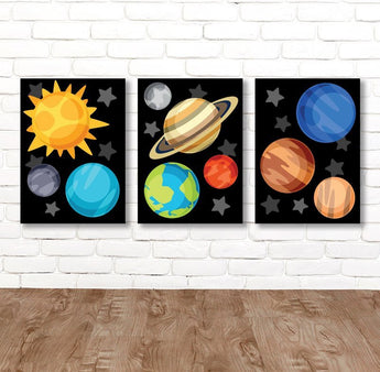 PLANET Wall Art, Planet CANVAS or Prints, Outer Space Sun Planets Earth Saturn Mars, Galaxy Theme Decor, Big Boy Bedroom Wall Decor Set of 3