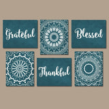 GRATEFUL THANKFUL BLESSED Wall Decor, Kitchen Quote Wall Art, Set of 6 TRMdesign