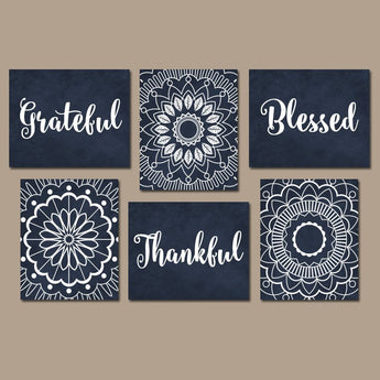 GRATEFUL THANKFUL BLESSED Wall Decor, Bedroom Quote Wall Art, Canvas or Print Navy Living Room Quote Home Decor, Mandala Design Set of 6 Art